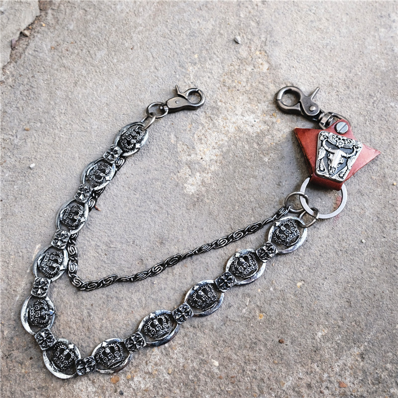 Fashion Men Jewelry Jean Wallet Chain 3 Layer Waist Punk Hook Silver Trousers Pant Belt Chain Jewelry Keychain Pant Chain DR192
