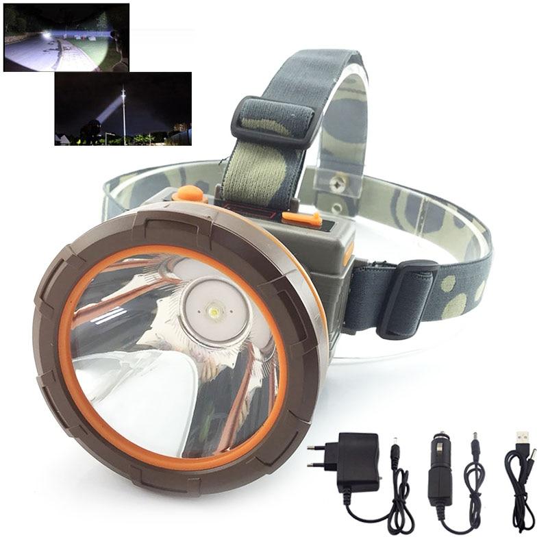 Alta Potencia 65 W LED faros Super brillante largo alcance faro cabeza antorcha lámpara Frontale Lampe batería para la pesca camping