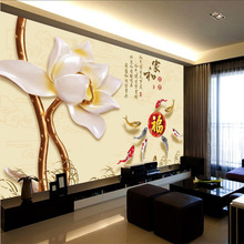 Factory price Customized wallpaper mural lotus pattern scenery with jade carving behind sofa as background livingroom