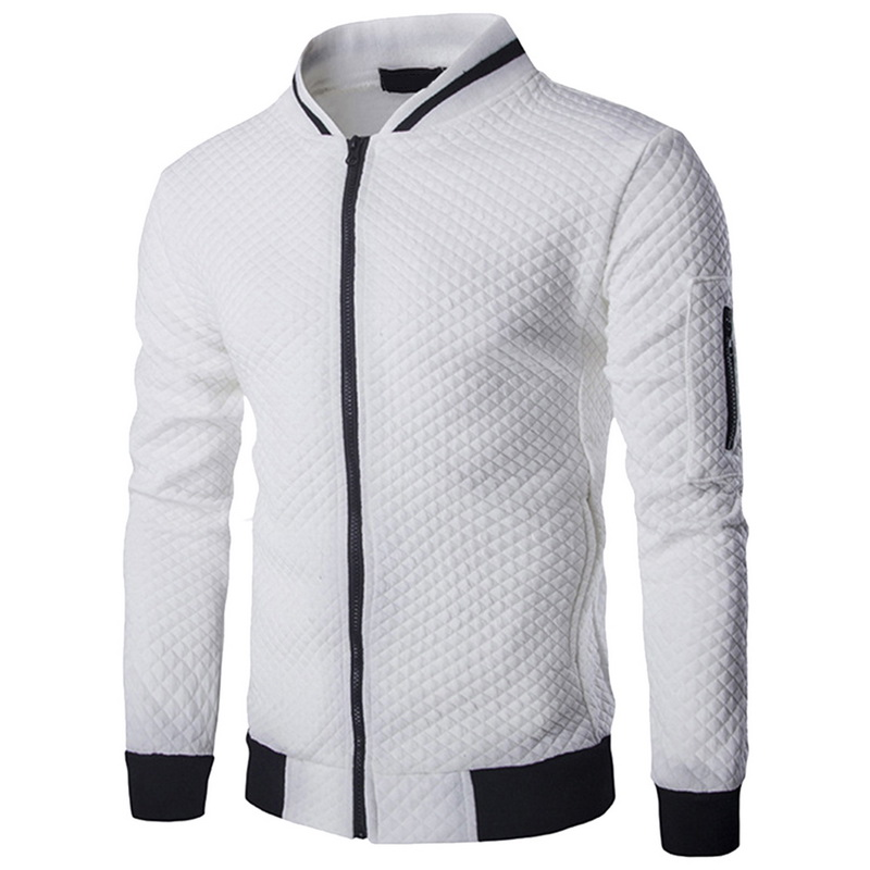 Laamei Men's Veste Homme   Argyle Zipper Jacket Casual Jacket 2019 Autumn New Trend White Fashion Men's Jackets Clothes