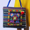 2-inside layer Vintage Hmong linen Bohemian hobo tote bag embroidery handbags large shopping shoulder bags travel bags 540