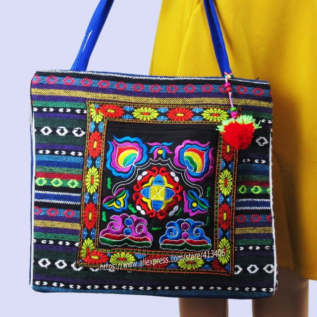 2 Inside Layer Vintage Hmong Linen Bohemian Hobo Tote Bag Embroidery Handbags Large Ping Shoulder