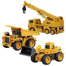 купить 1pcs Mini Engineering Car Kids Tractor Excavator Toy Remote Control Tractor Model 4-Channel Bulldozer Crane Truck Children Toys дешево
