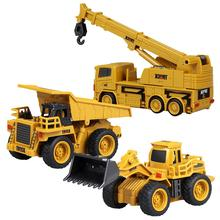 1pcs Mini Engineering Car Tractor Excavator Toy Remote Control Model 4-Channel Bulldozer Crane Truck Toys