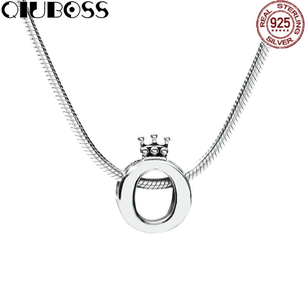QIUBOSS 925 Sterling Silver Crown necklace Set Fit Charm Original Necklace A Set Of Prices RAU0485