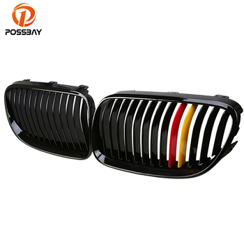 POSSBAY 2 Pcs Gloss Black Germany Flag Style Car Front Hood Center Grille For BMW 3-Series E93 Cabrio 2010/2011-2013 Facelift