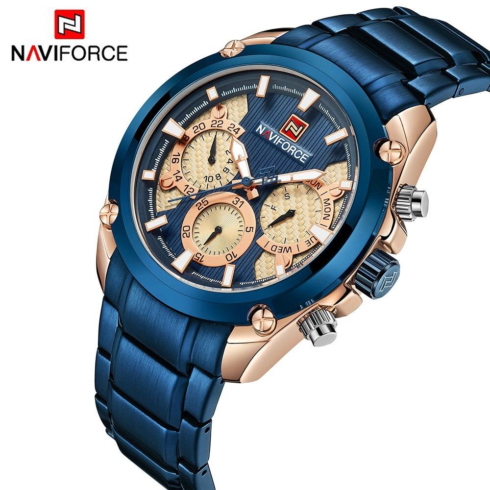 Haut De Luxe Marque NAVIFORCE Bleu Or montre pour homme Mode Sport Quartz montres homme Plein Acier montres étanches Relogio Masculino