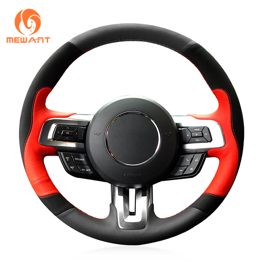 MEWANT Black Red Leather Black Suede Car Steering Wheel Cover for Ford Mustang 2015-2017 Mustang GT 2015-2017 free shipping car styling sew on genuine leather car steering wheel cover car accessories for 2015 2016 new ford mustang