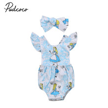 Cute Newborn Baby Girl Cartoon Romper Ruffles Back Cross Halter Jumpsuit Headband 2PCS Outfit Princess Girls Sunsuit(China)