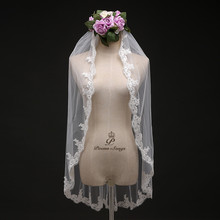 Poems Songs wedding veil one layer applique flowers Simple Bridal Veil + Comb elegant ivory white bridal veil free shipping