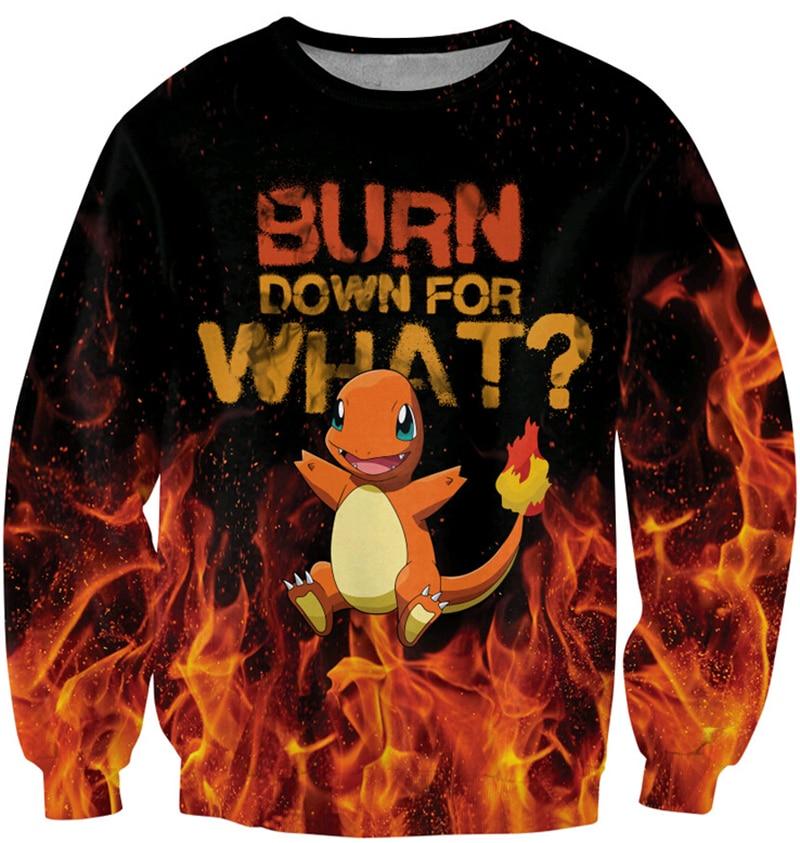 2016 Spring Men/Womens Creative New Fashion Sweatshirts new designer mens suores fire starter Pokemon 3D Print pullover Hoodies