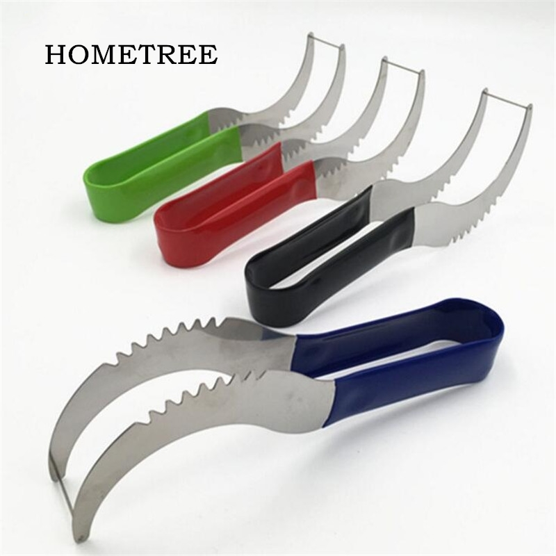 HOMETREE Stainless Watermelon Slicer Melon Cutter Knife Fruit Corer Cantaloupe Cutting Seeder Slicer Kitchen Cut Fruit Tool H09