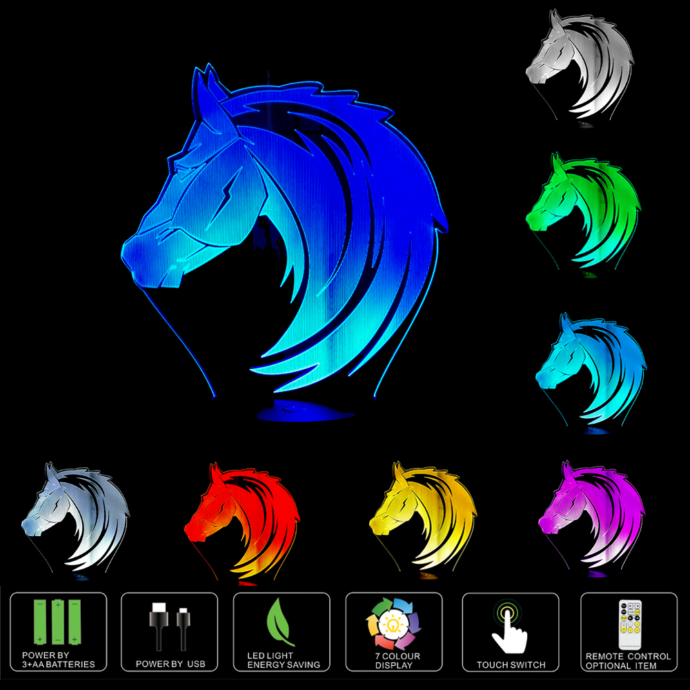 On Off Key Switch Two Tranche Adjustable Dual Mode Gravity Sensor Muid Night Light 3d Led Horse Hologram Illusion Table Lamp Change Color Usb Novelty Animal Luces