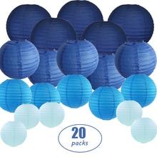 """Lámparas de papel azul de 6 """" 12"""" para colgar en exteriores, lámparas de colores surtidos de tamaños y colores japoneses chinos, para fiesta de boda, decoración Diy, 20 Uds."""