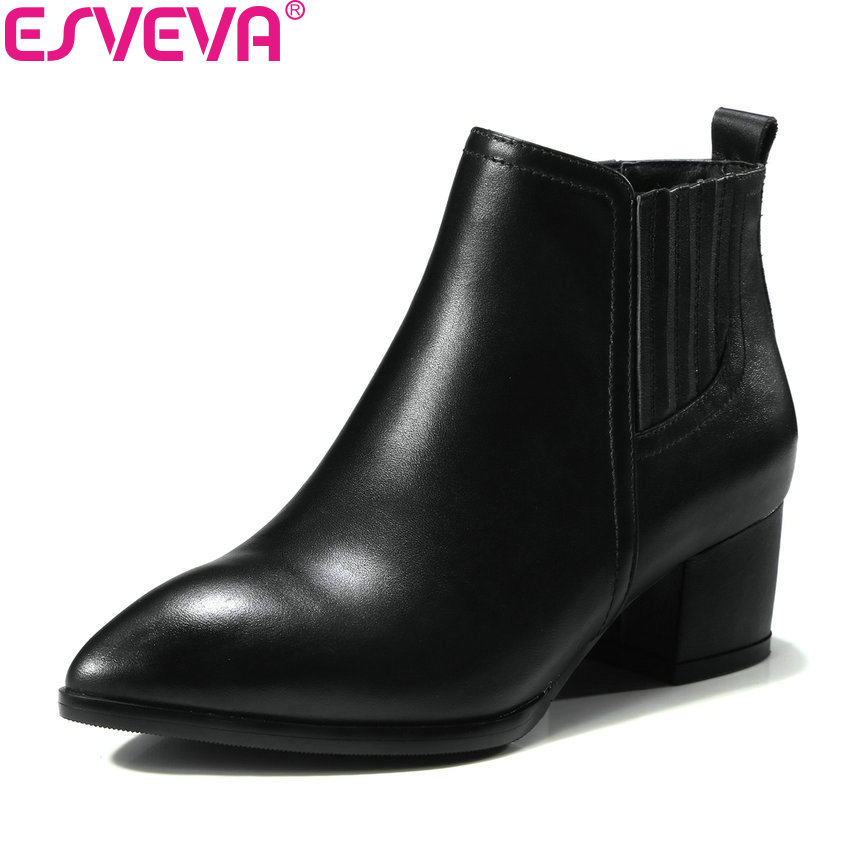 ESVEVA 2019 Women Boots Cow Leather PU Western Style Square Heel Ankle Boots Pointed Toe Fashion Boots Woman Shoes Size 34-39 esveva 2018 women boots sweet style black ankle boots short plush pu lining pointed toe square high heel ladies shoes size 34 39
