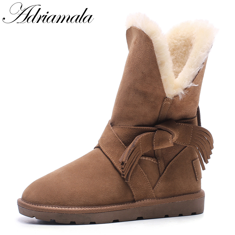2017 Snow Boots Winter Women Shoes Mid-calf Round Toe Cow Suede Flat With Fashion Female Low Heels Winter Warm Boots Adriamala casual women s mid calf boots with metallic buckle and suede design