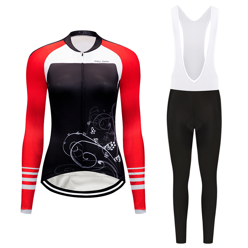 2017 Firty sonw Jerseys Set Women Slim Fit Gel Cycling Pants Bicicleta Clothing Breathable Bicycle Cycling Jersey Ropa Ciclismo