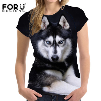 FORUDESIGNS 3D Elastic Basic Women T Shirt Husky Dog Printing Female Short Sleeve Tops Tee Stylish Bodybuilding O Neck T-shirts anfilia women long sleeve basic tee elastic t shirt female v neck modal t shirts casual tee classic tops
