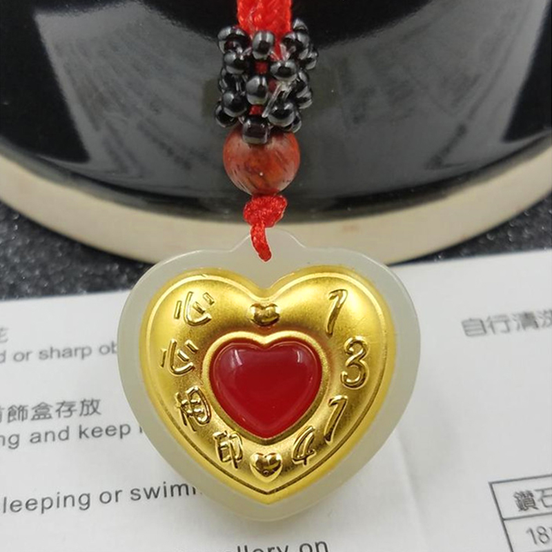 Gold Inlay Jade Love Heart Pendant White Hetian Jade Red Heart Jade Women Necklace Girl Valentine's Day Birthday Gift 23*22mm каравай каравай isbn 9785378018833