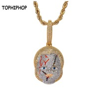 Newest Hiphop Horror Movie Chucky Doll Pendant Necklace Iced Out AAA+ Cubic Zircon Stone Pendant Ketting Colar Hip Hop Jewelry