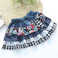 Denim Skirts For Girls 2015 new Cotton Dot Bow Lace stitching jeans Children Girl Summer Skirt2-8Y Kids Fashion Miniskirt