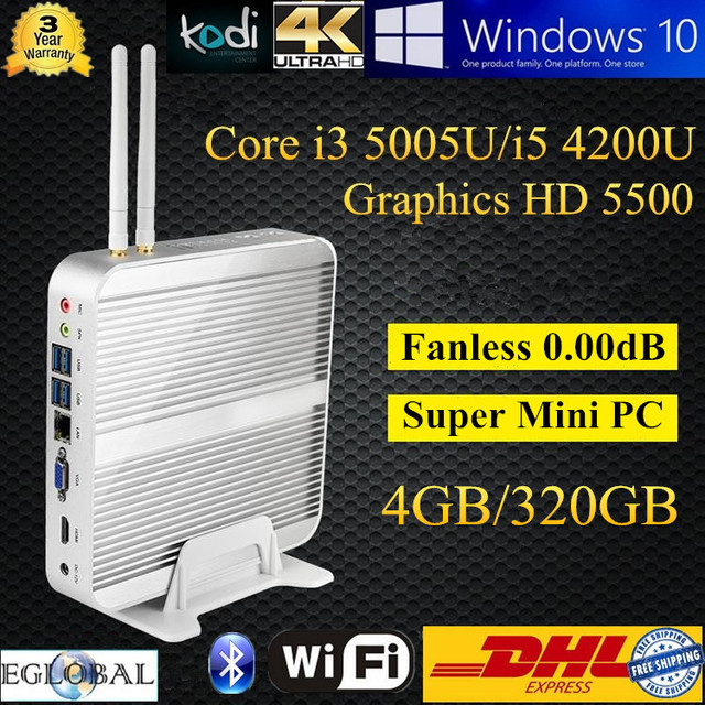 Haswell-ИИ Чипсет безвентиляторный настольный мини-компьютер с Intel Core i5 4200u 4 ГБ DDR3 320 ГБ HDD 1.6 ГГц Бесплатная доставка DHL Smart PC