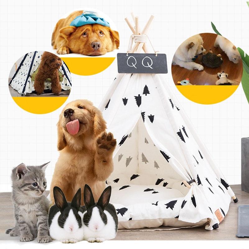 Image 2 - Jormel pet tenda cão cama gato brinquedo casa portátil lavável  animal de estimação teepee listra padrão moda 2019 não incluído  esteiraCasas, canis e canetas