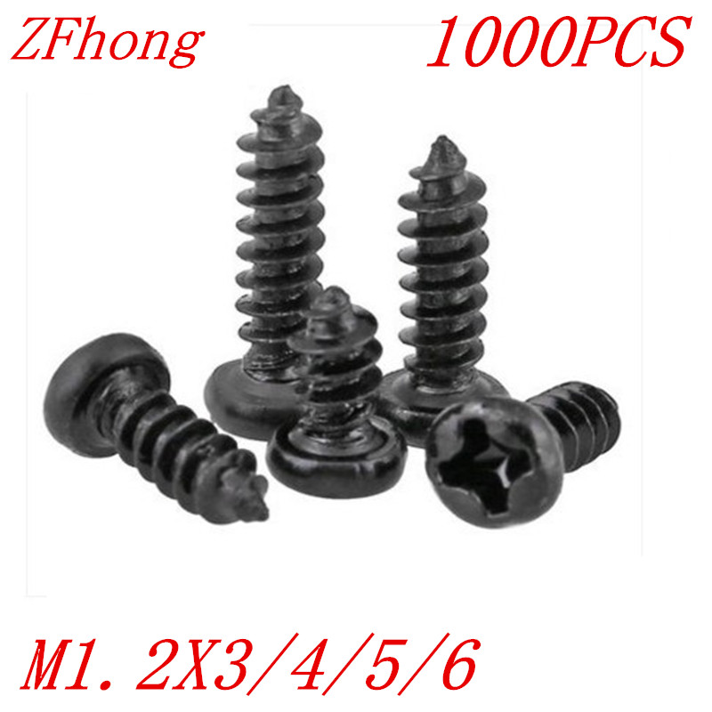 1000PCS M1.2*3/4/5/6 1.2mm black micro electronic screw cross recessed phillips round pan head self tapping screw 500pcs m2 4 5 6 8 10 12 2mm nickel plated micro electronic screw cross recessed phillips round pan head self tapping screw