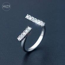 Fine Jewelry 925 Sterling Silver Bar Ring Full Zircon Top Hot T Brand Letter Fashion Women CZ TIF Rings Fine Jewelry for Girl