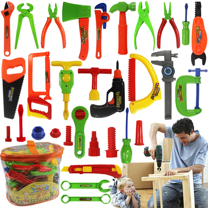 32pcs/Set DIY Creative Brick Toy Maintenance Tools Portable Toolbox Simulation Repair Kit Kids Early Educational For Boy Gift