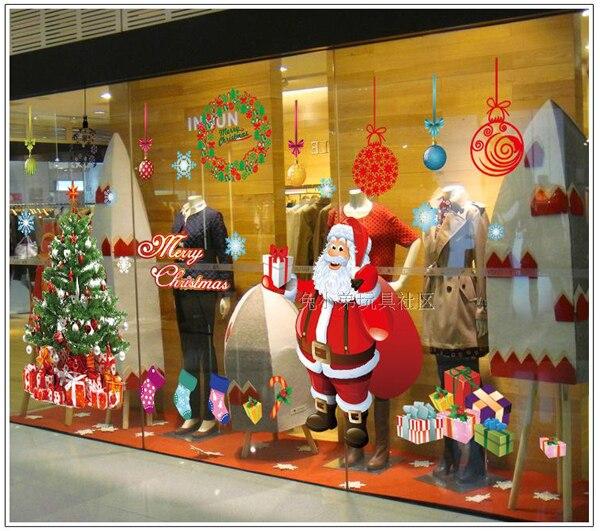 1pcs Christmas Tree Santa Claus Deer Wall Sticker Decals Party Wallpaper Mural Coffee Shop Nursery Kids