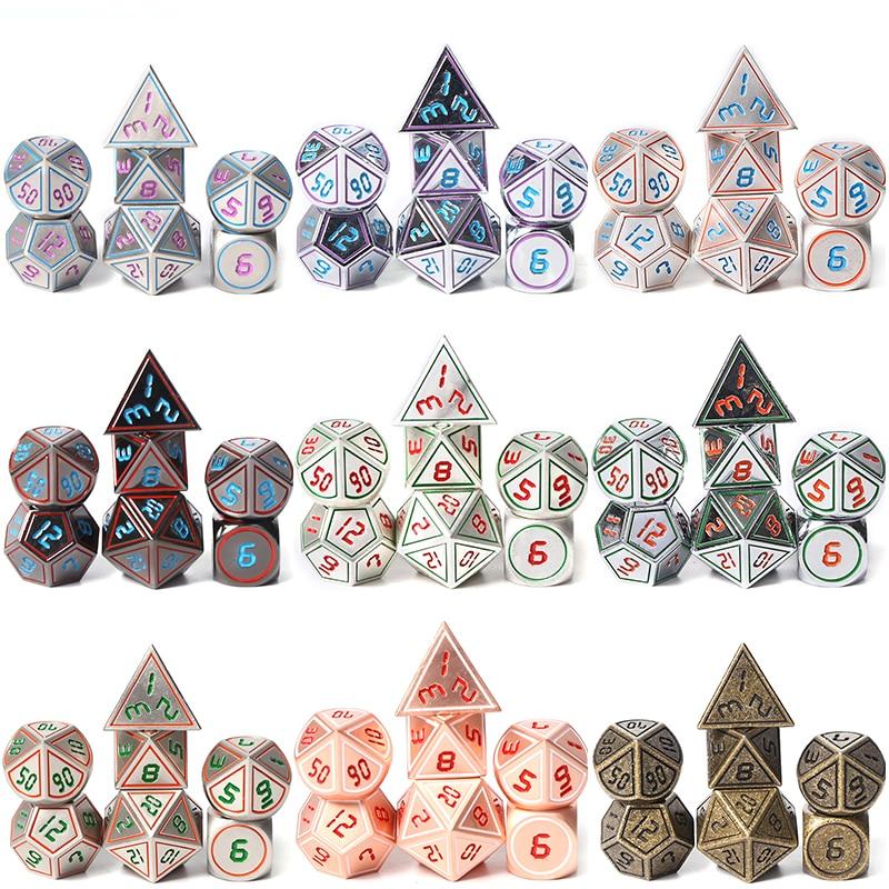 Chengshuo masmorras e dragões d20 rpg set poliédrico dados dnd metal 10 8 jogos de mesa branco liga de Zinco verde digital dados padrão