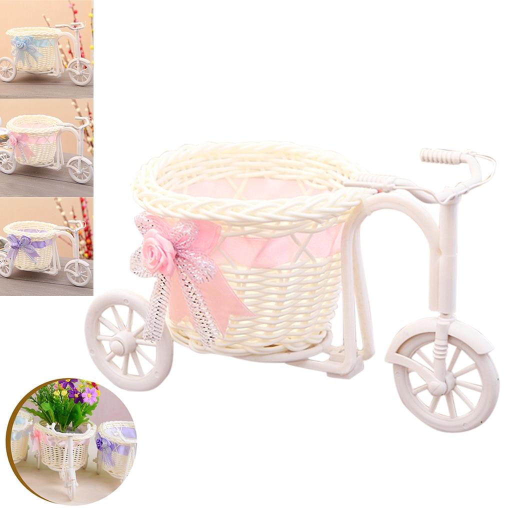 1pcs Rattan bicycle Storage Basket Flower Vase Plant Stand Holder Bike Design Organizer Flower Basket Pot