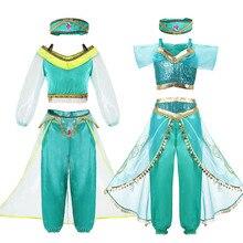 Girls Jasmine Princess Dress Children Fancy Costume Kids Dresses For Baby Toddler Arabian Cosplay Summer Sets