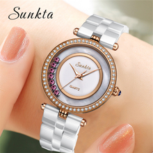 SUNKTA Top Brand Luxury Diamond Watch Ceramic Quartz Women Watches Waterproof Fashion Mother-of-pearl Surface Ladies Box