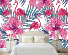 beibehang Modern minimalist high wallpaper Nordic hand-painted Flamingo palm leaf bedroom living room wall papel de parede