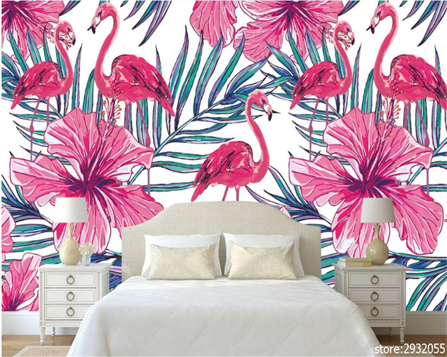 Beibehang Modern Minimalist High Wallpaper Nordic Hand Painted Flamingo  Palm Leaf Bedroom Living Room Wall