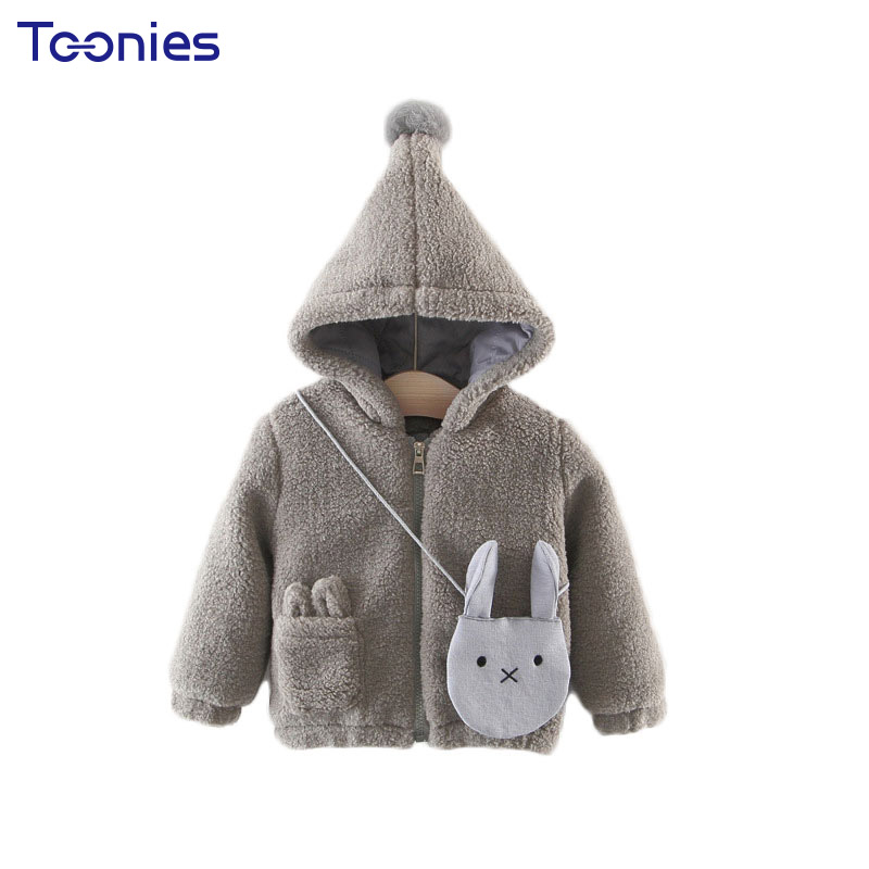 Hooded Baby Jackets 2017 Winter Girls Outerwear Thickening Infant Coats Cute Pocket and Bag Toddler Outfit Zipper Child Clothing