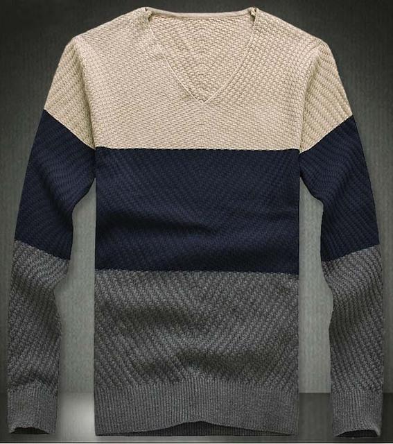 2017 frete grátis mens slim fit v homem camisola gola malhas pullovers polo para os homens 4 cores m-xxl am02