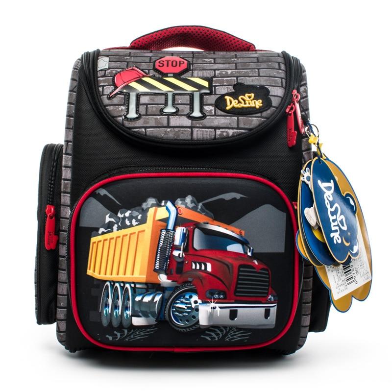 Delune New Cartoon School Bags Mochila Infantil Car Children Orthopedic School Backpacks for Boys Satchel Schoolbag Grade 1-3