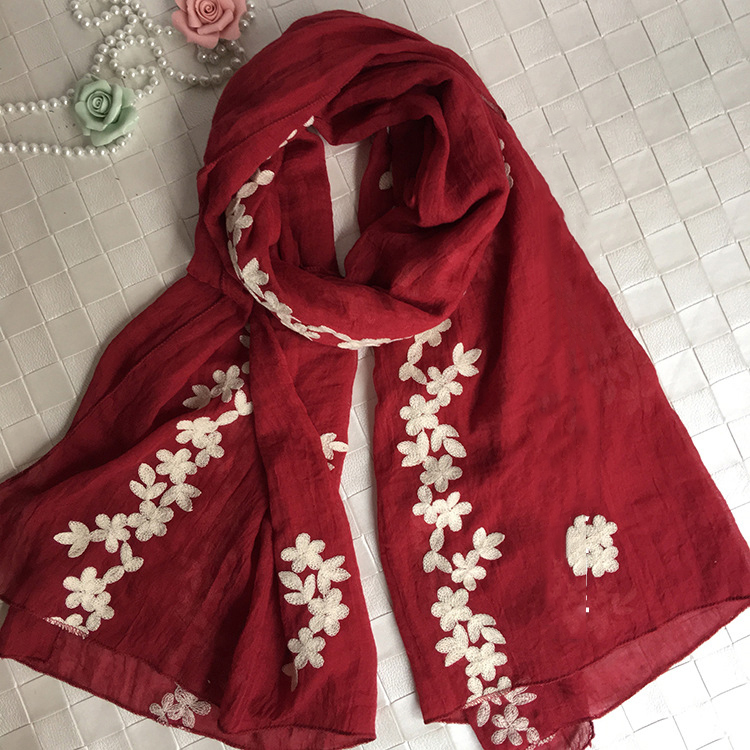 10 pc/lot Women   Scarf   New Cotton Linen White Flower Embroidery   Scarf   Shawl   Wraps   Muslim Hijab   scarf   90X180CM