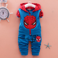 2016 New Casual Boys Spring Autumn Toddler Cotton Casual Suit Spiderman Baby Kids Clothes Sets Children
