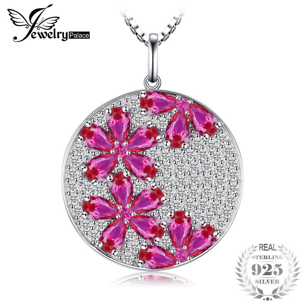 JewelryPalace Flower 4.5ct Created Rubies Pendant Genuine 925 ...