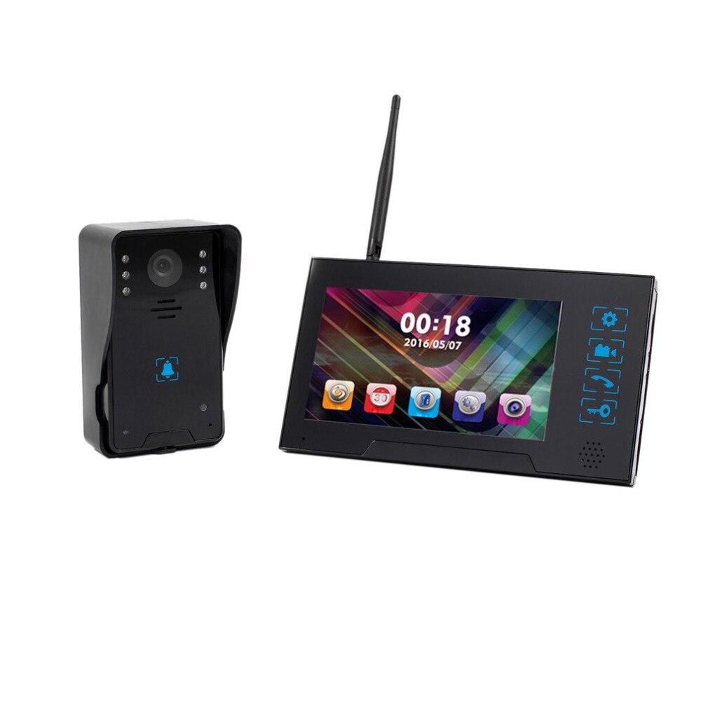 Qualité 7-Inch TFT Écran Sans Fil Sonnette Visuelle Interphone Vidéo Porte Téléphone Infrarouge de Vision Nocturne Sonnette Sécurité À La Maison