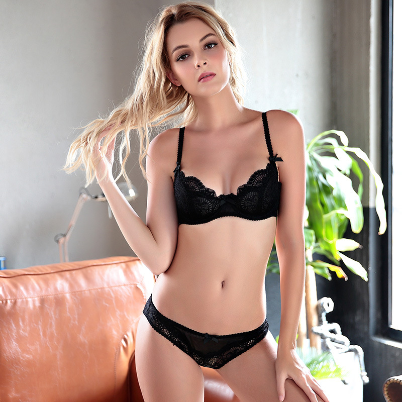 Women Sexy Unline Lingerie Set Sexy Bra Brief Sets Push Up Transparent Lace  Embroidery Victoria Thin Black Bra Panties White Bra-in Bra   Brief Sets  from ... 34a9bf358