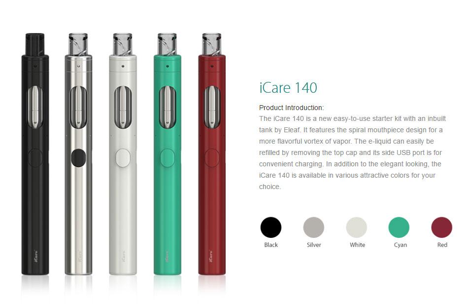 , 100% Original Eleaf iCare 140 Starter Kit 650mah Internal Battery 2ml Tank with 1.1ohm IC head icare Simple Vape KIT vs ijust s