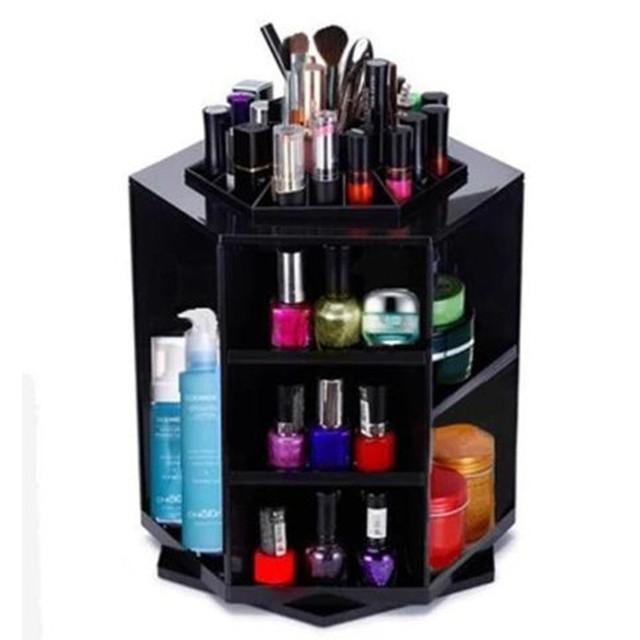 Moda 360 Grados Que Giran el Caso Del Organizador Del Maquillaje Cosmético Del Cepillo De Almacenamiento Cuadro Titular