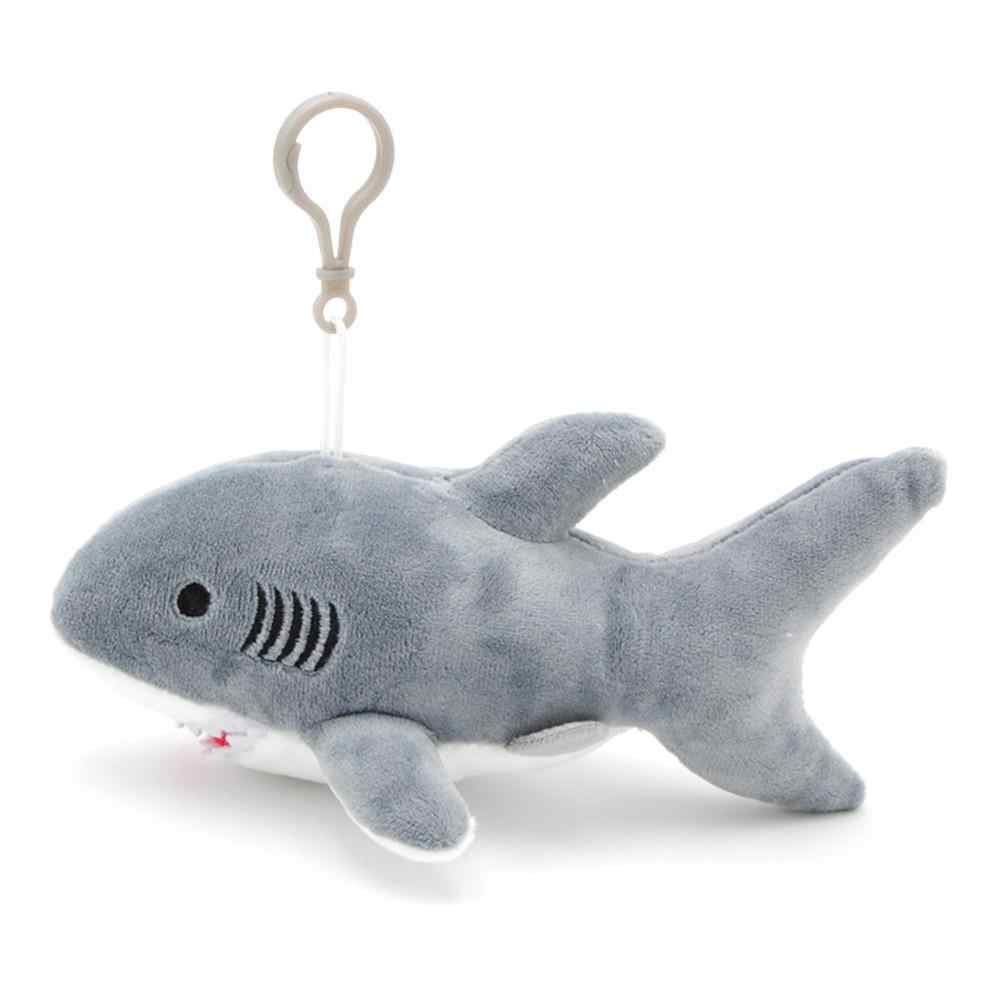 De dibujos animados lindo tiburón de peluche de juguete colgante Super suave peluche de la muñeca colgante con llavero de Metal