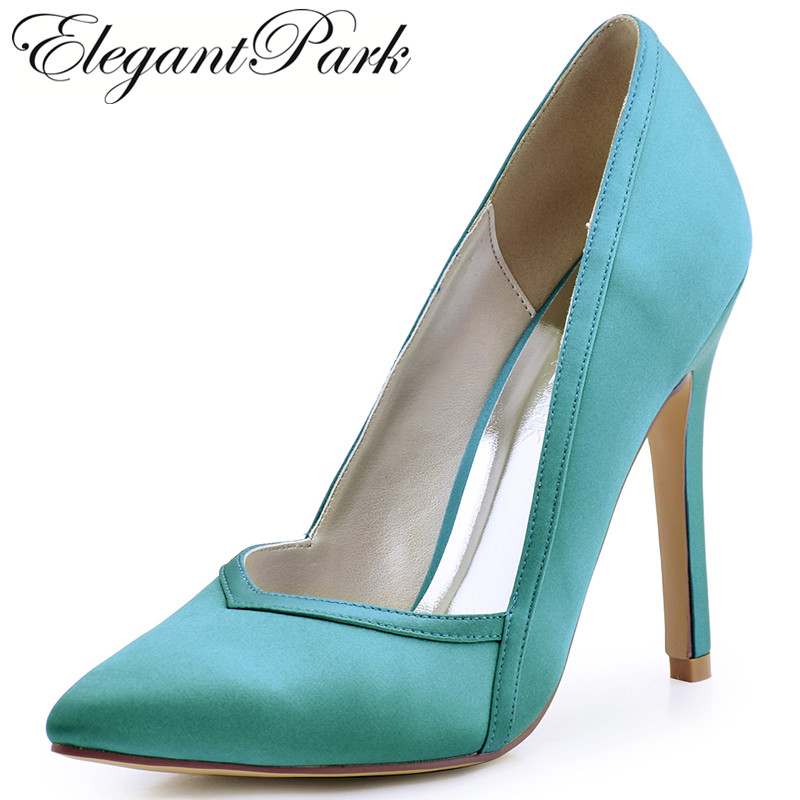цена на Woman Shoes High Heels Wedding Shoes Pointed Toe Satin Bride Bridesmaids Bridal Prom Evening Party Pumps HC1603 Ivory Teal