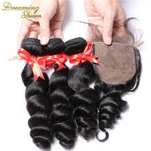 Silk Base Closure With Bundles 7A Peruvian Virgin Hair With Closure 4 Pcs Peruvian Loose Wave